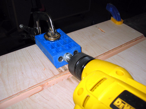 Drilling pocket holes for mounting the top.