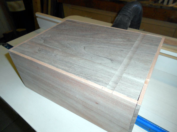 Box top showing routed inlay grooves.