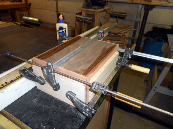 Box after installing top, bottom and sides clamped after glueup