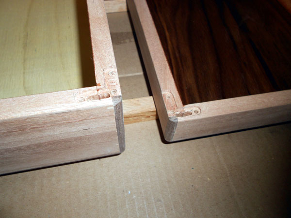 View showing mortises cut into top & bottom pieces.
