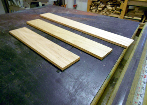 Selected cherry boards prior to cutting the pieces required.