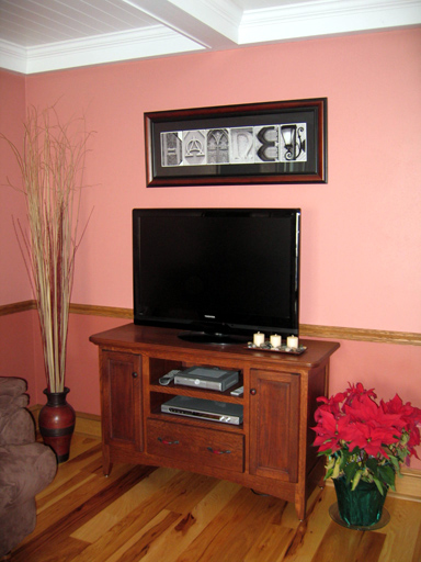 Finished TV cabinet in it's new resting place in our family room!