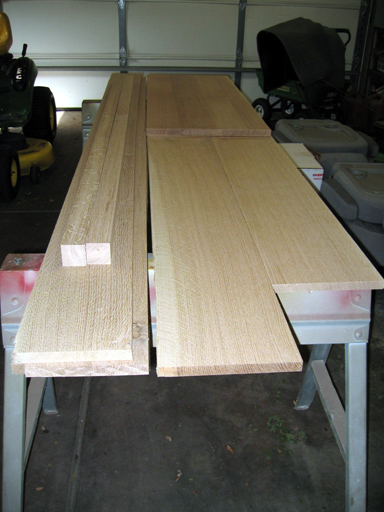 The starting load of rough quarter sawn boards.