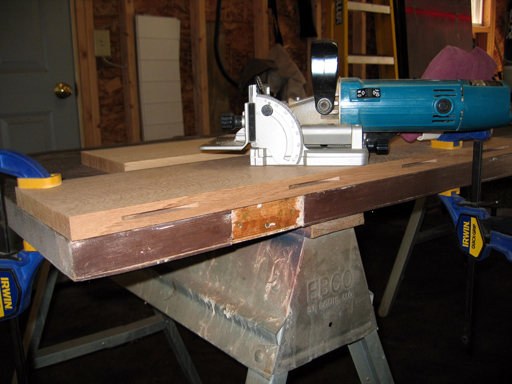 Using Bosch biscuit jointer to cut # 20 slots.