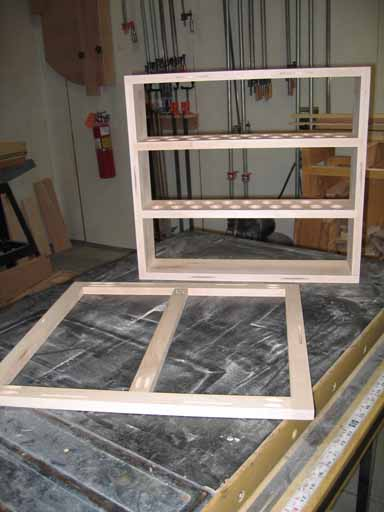 Display Cabinet Frame and glued shelves.