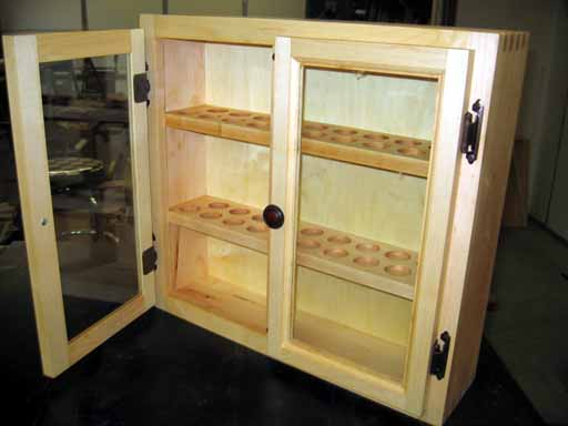 Finished Display Cabinet with open door.
