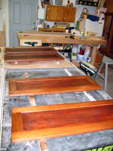 Stained doors with inserts.