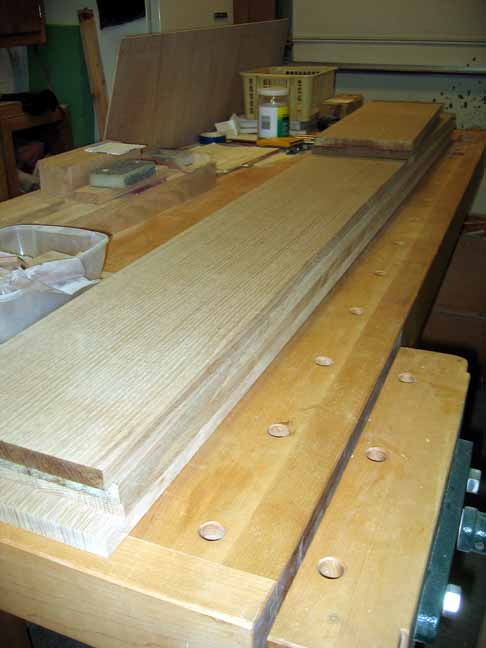 Lower shelf boards on the workbench (prior to glueup).