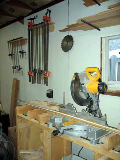 North Wall Miter Saw & Clamp Storage