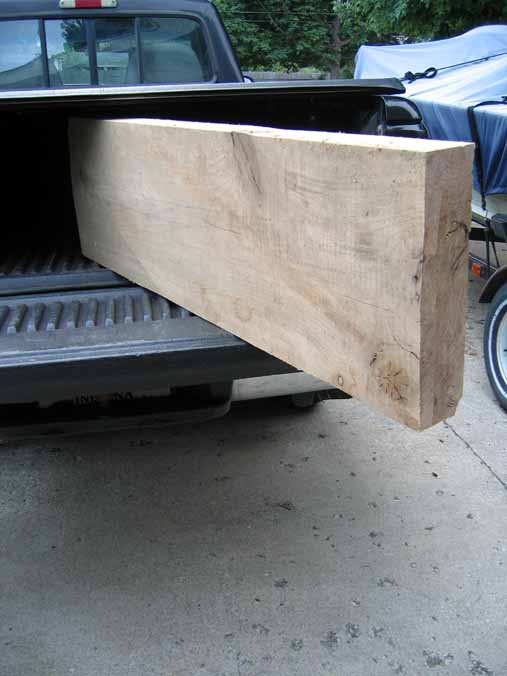 Oak plank on edge in my pickup truck.