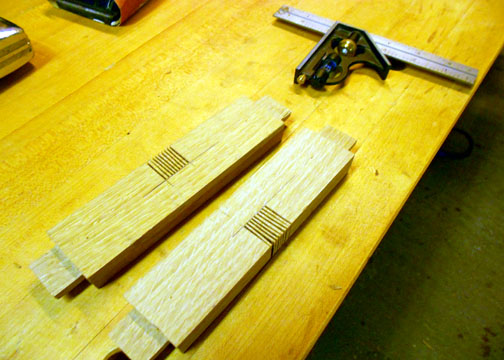 Bottom cross pieces after cutting on the band saw.