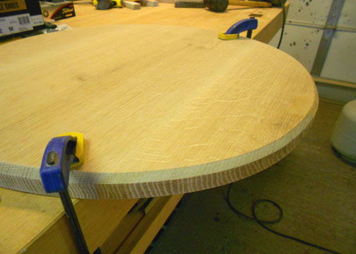 View of top with bevels after the routing process.