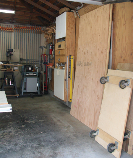South wall view of Scott's shop.